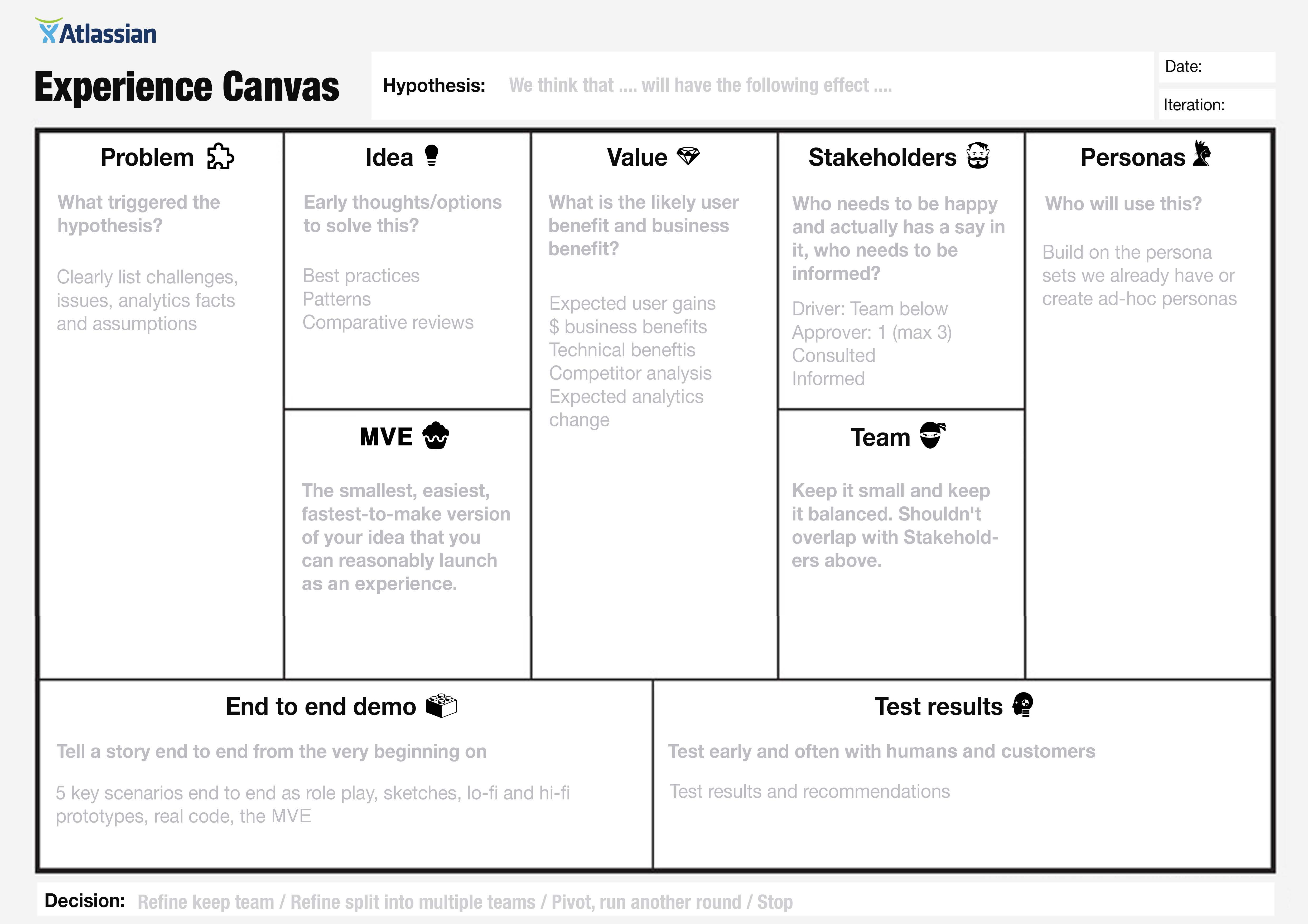 lean canvas template pdf - agile project inception the think it phase